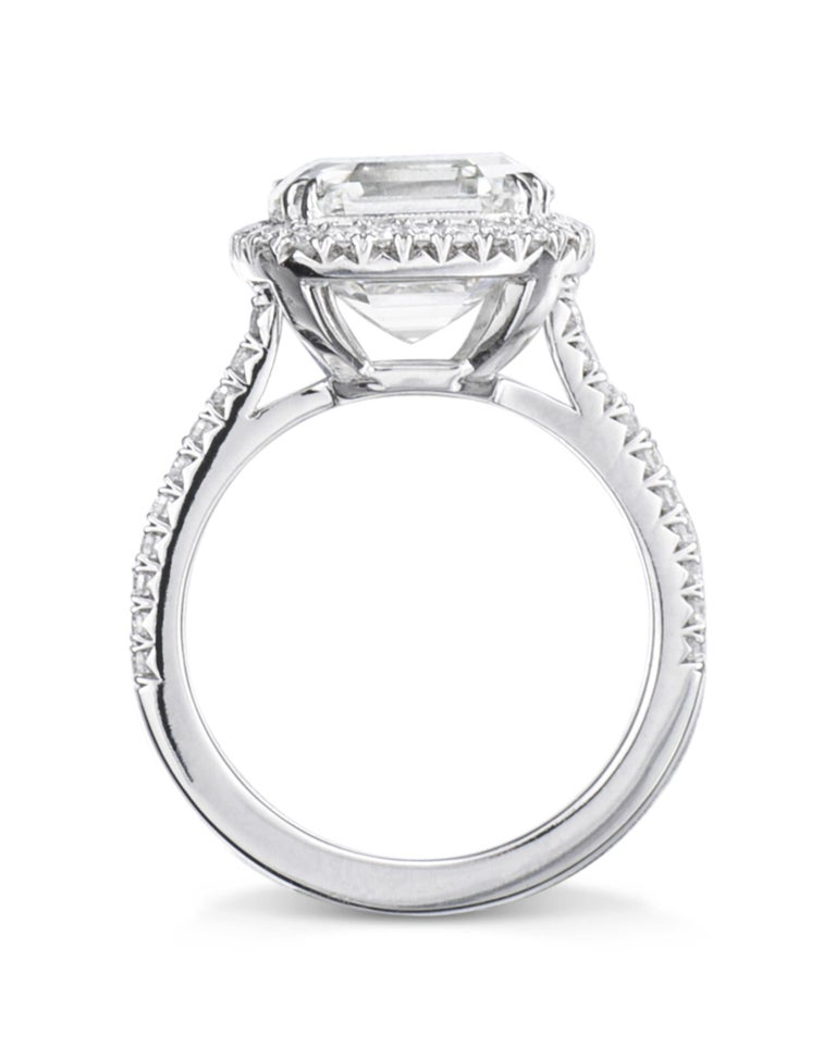 The One, an exceptional engagement ring and unique piece of fine jewelry, features a asscher-cut diamond center stone, framed by micropavé diamonds, set on a micropavé band. The timeless glamour of the micropavé setting has quickly become an iconic