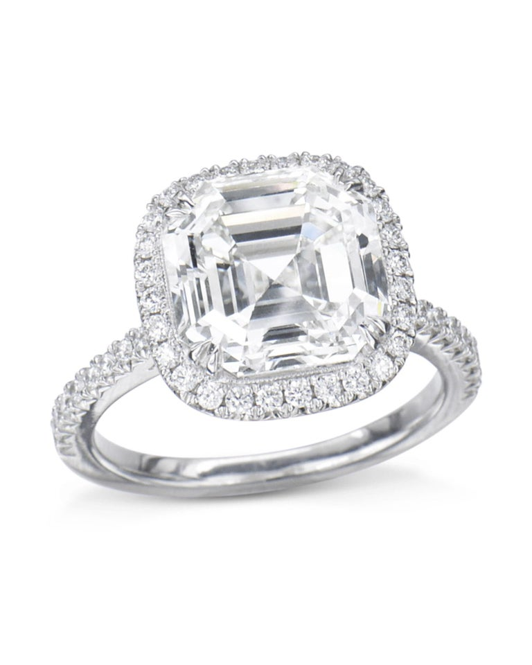 Anglo-Indian 1 Carat Asscher Cut GIA Diamond Engagement Ring 950 Platinum Setting For Sale
