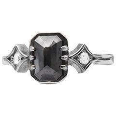 1 Carat Black Diamond Solitaire Engagement Ring White Gold
