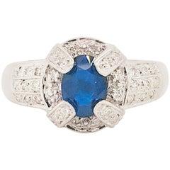 1 Carat Blue Sapphire Diamond Halo Engagement Ring 14 Karat Gold Oval Sapphire