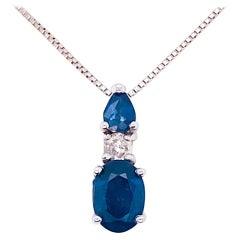 1 Carat Blue Sapphire & Diamond Pendant 14 Karat Gold Box Chain September Stone