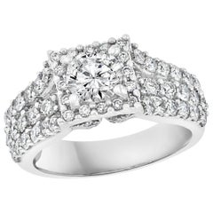 1 Carat Brilliant Round Center Diamond, 2 Carat 14 Karat White Gold Ring