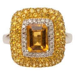 1 Carat Citrine, 1 Carat Yellow Sapphire and Accent Diamonds 18 Karat Gold Ring