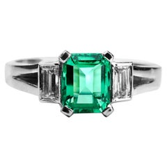 1 Carat Colombian Emerald and Diamond Engagement Ring