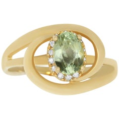 1 Carat Natural Color Change Anatolite and Diamond Ring