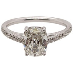 1 Carat Cushion Cut Diamond Ring in 18 Karat Cathedral Mounting