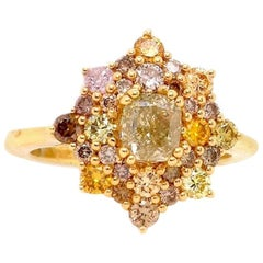1 Carat Cushion Cut Yellow and Multi-Color Diamond Ring