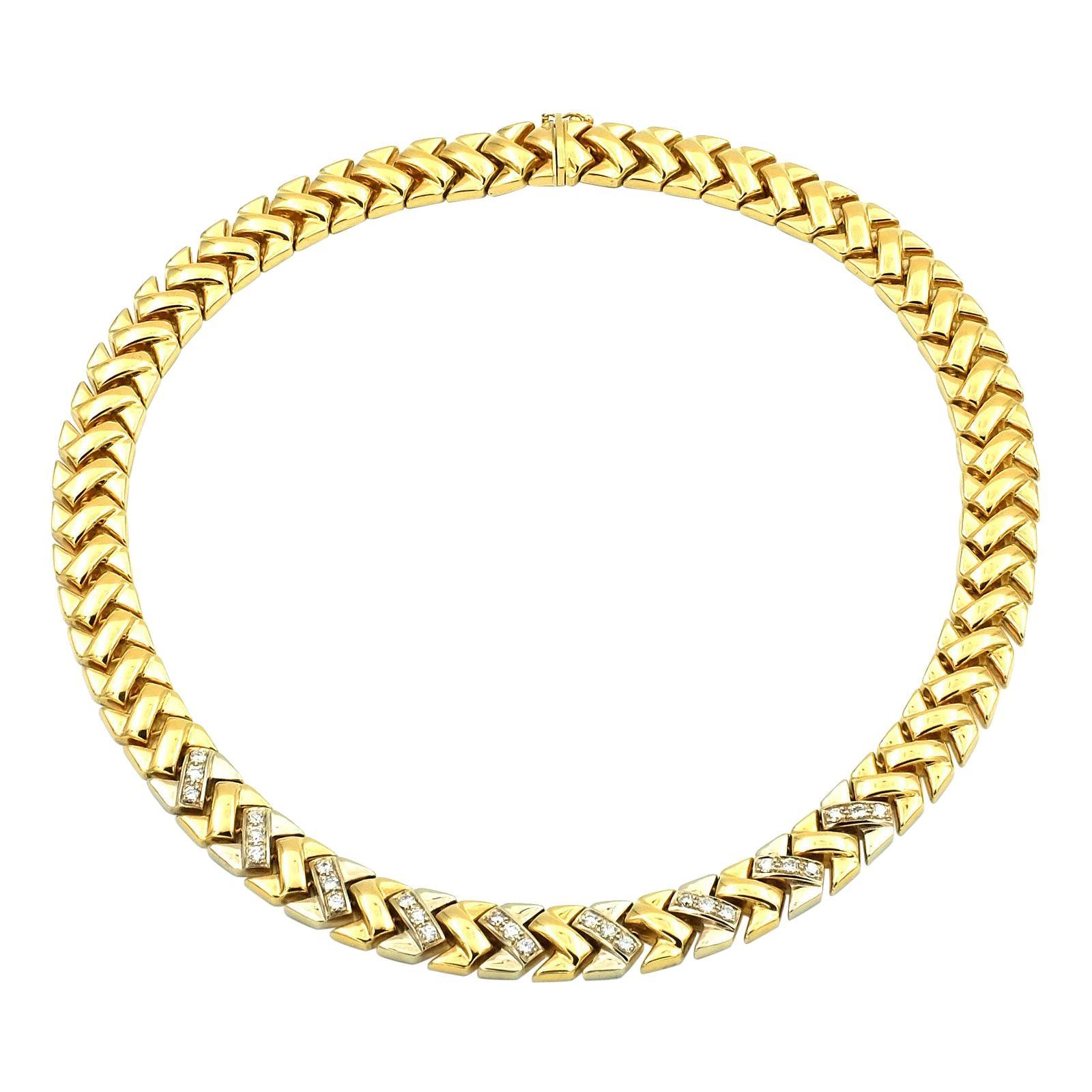 1 Carat Diamond 18K Gold Choker Necklace