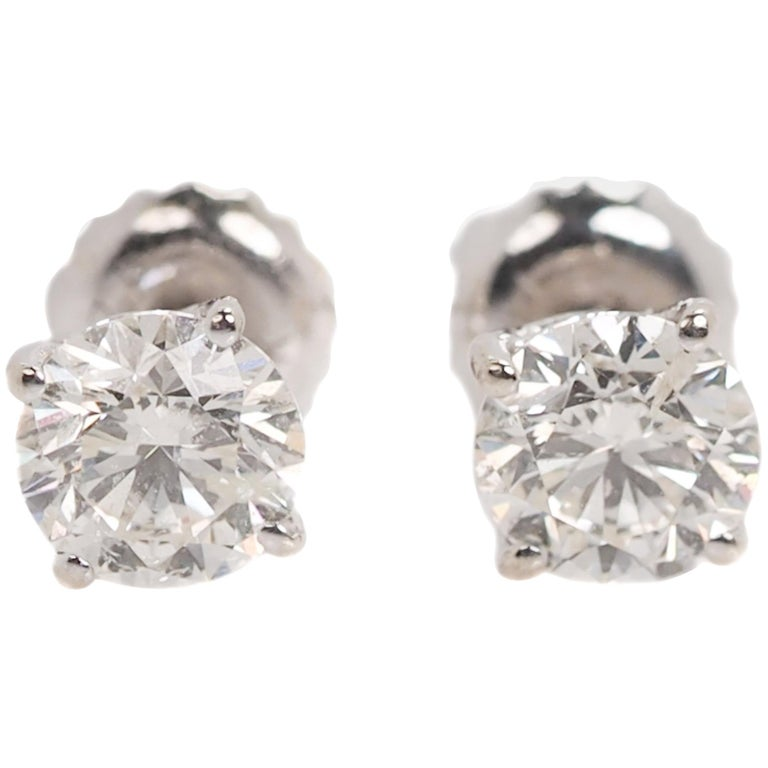 28e16fd94 1 Carat Diamond and 14 Karat White Gold Stud Earrings For Sale at ...