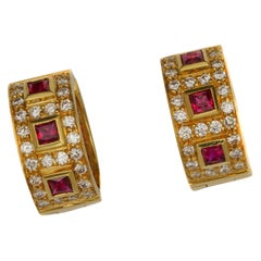 1 Carat Diamond and .5 Carat Ruby Earrings in 18 Karat Gold