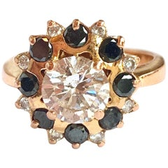 1 Carat Diamond and Black Diamonds 18 Carat Rose Gold Engagement Ring