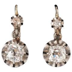 1 Carat Diamond Antique Belle Époque Earrings