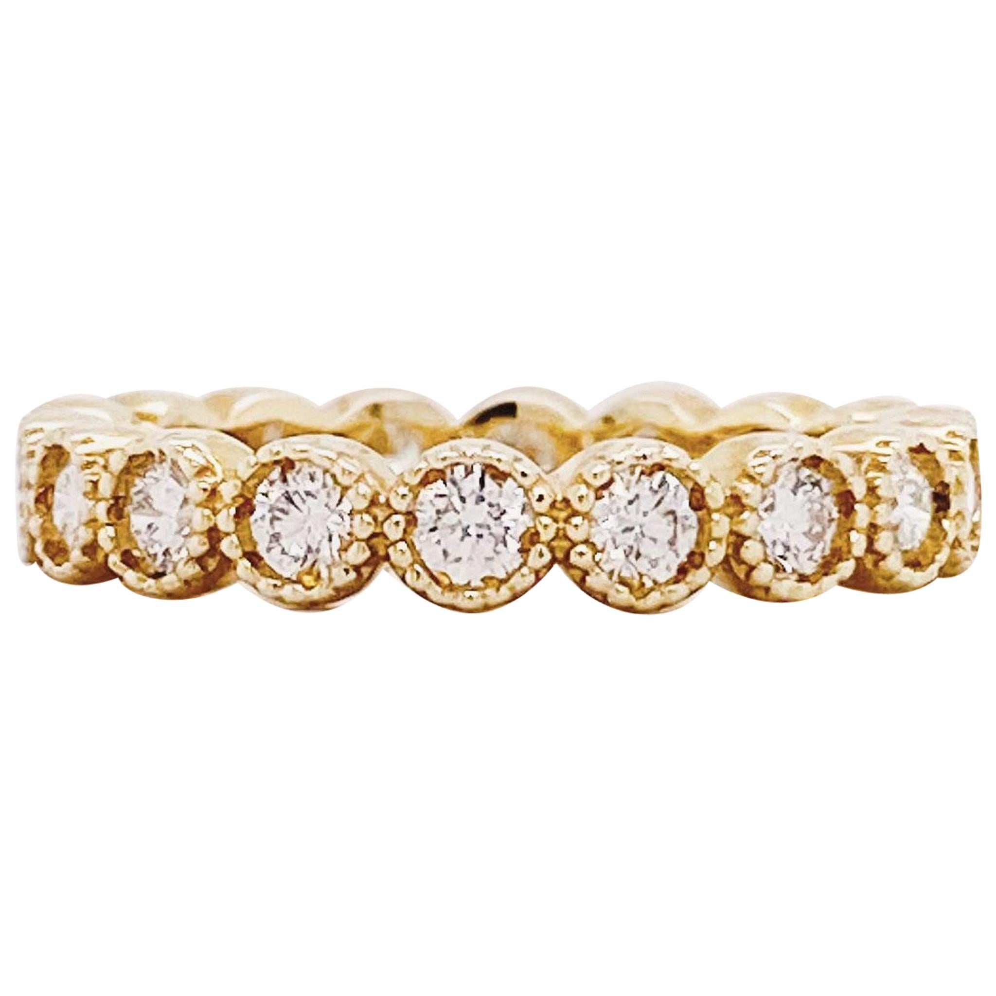 1 Carat Diamond Bezel Eternity Band 14K Yellow Gold 1.00 ct Diamond Wedding Band