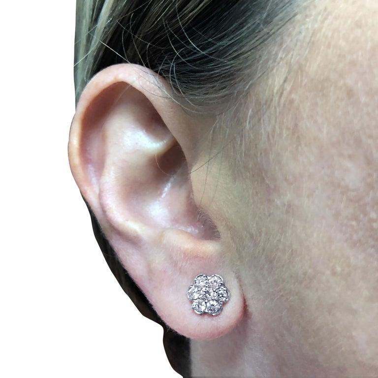 Round Cut Vivid Diamonds 1 Carat Diamond Cluster Earrings For Sale