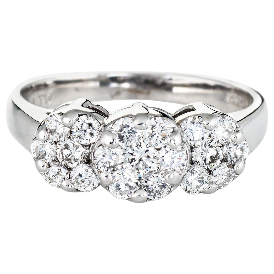 1 Carat Diamond Cluster Ring Estate 14 Karat White Gold 3 Flower Mount Jewelry