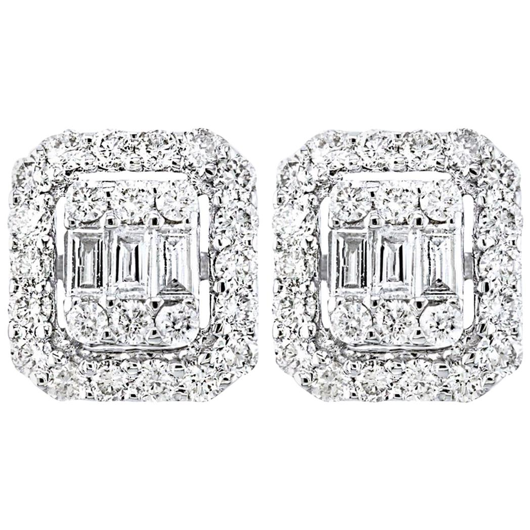 1 Carat Diamond Cluster Stud Earrings in 18 Karat White Gold, Round and Baguette