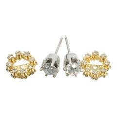 1 Carat Diamond Day Night Halo Earrings 14 Karat White Yellow Gold
