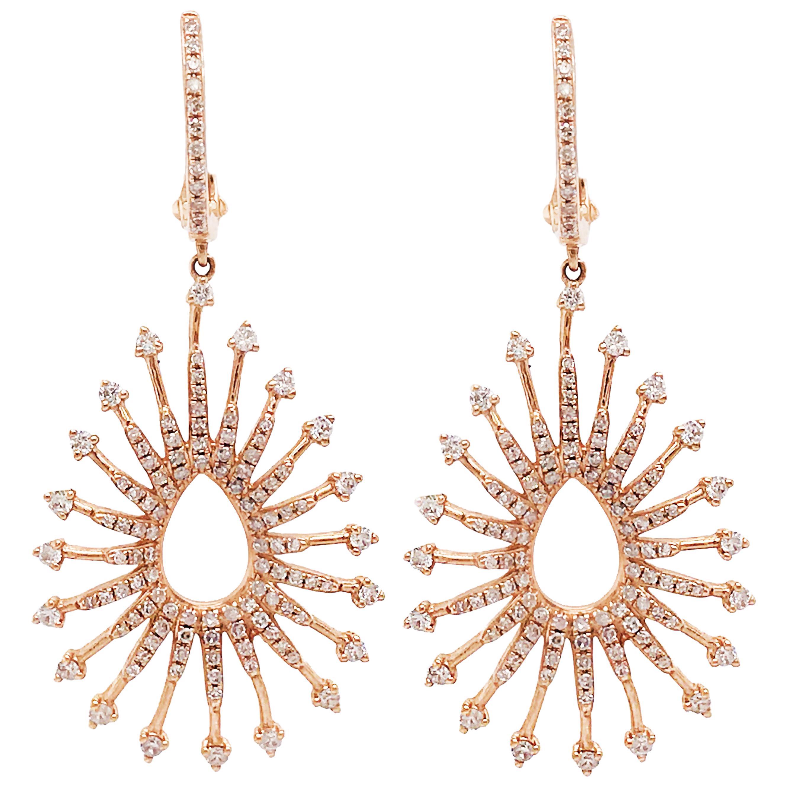 1 Carat Diamond Designer Earrings, 14 KT Rose Gold, Pear Shaped Diamond Earrings