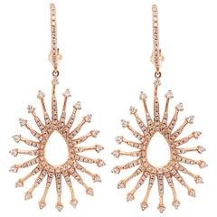 1 Carat Diamond Designer Earrings, 14 Karat Gold, Pear Shaped Diamond Earrings