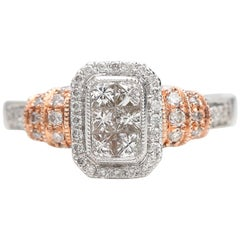 1 Carat Diamond Engagement Ring 14 Karat Two-Tone White and Rose Gold