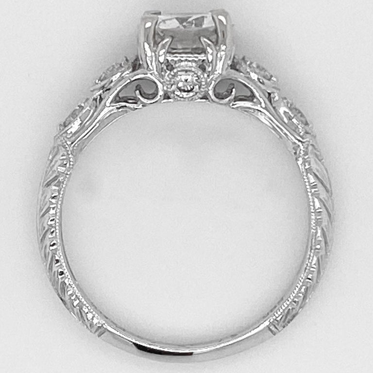 Oval Cut 1 Carat Diamond Engagement Ring, White Gold, Round, Vintage, Detailed For Sale
