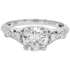1 Carat Diamond Engagement Ring, White Gold, Round, Vintage, Detailed