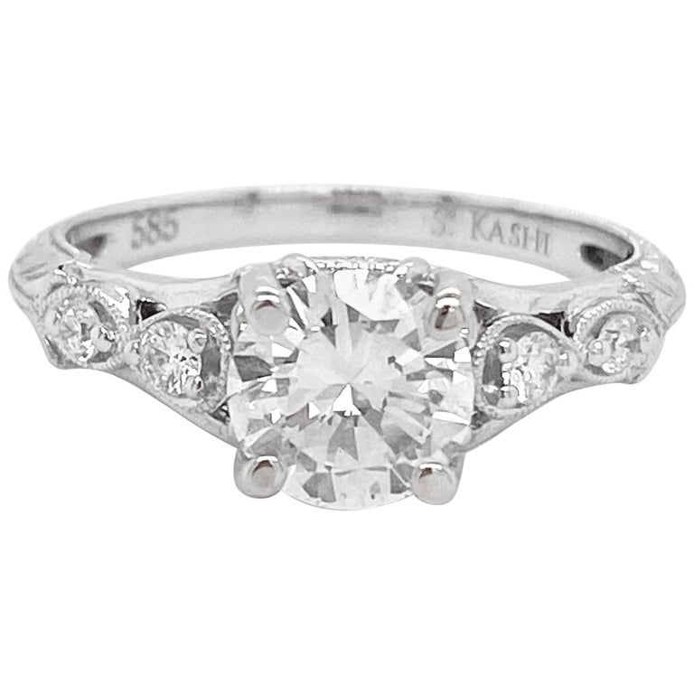 1 Carat Diamond Engagement Ring, White Gold, Round, Vintage, Detailed For Sale