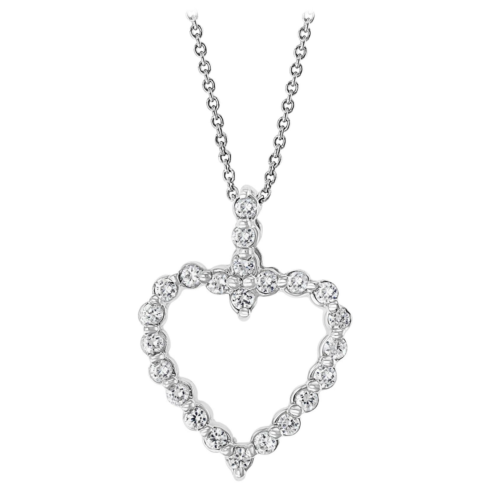 1 Carat Diamond Heart Pendant/ Necklace 14 Karat White Gold with Chain