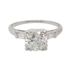 1+ Carat Diamond Old Euro Cut Platinum Art Deco Engagement Ring