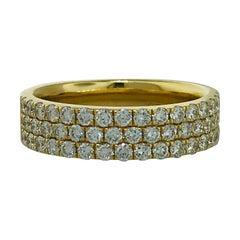 1 Carat Diamond Pave 3-Row Band in 14 Karat Gold