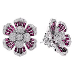 1 Carat Diamond Ruby 18 Karat White Gold Earrings