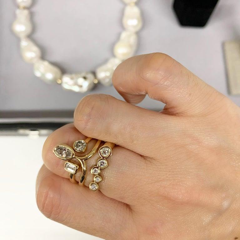 Contemporary 1 Carat Diamond Stacking Engagement Ring Set 14 Karat Yellow Gold For Sale