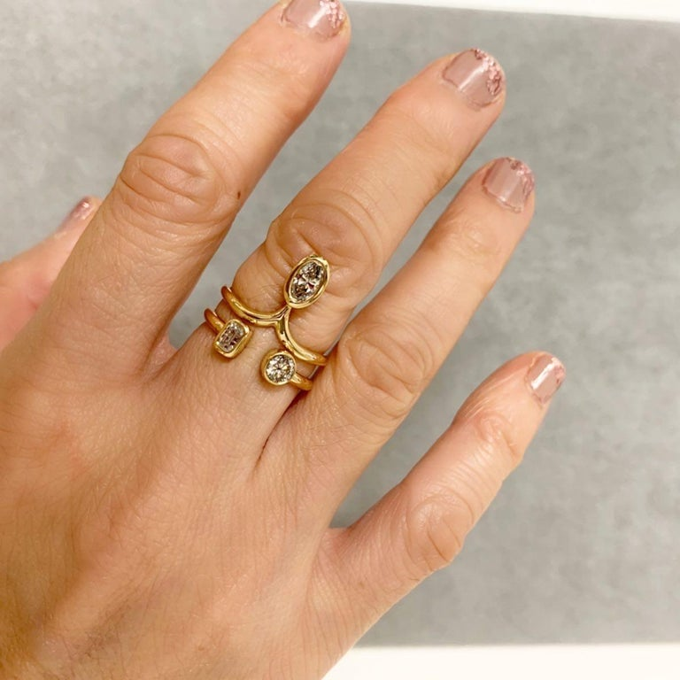 1 Carat Diamond Stacking Engagement Ring Set 14 Karat Yellow Gold In New Condition For Sale In New York, NY