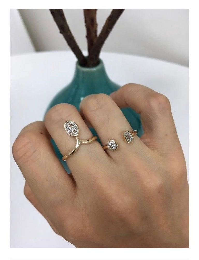 Women's 1 Carat Diamond Stacking Engagement Ring Set 14 Karat Yellow Gold For Sale