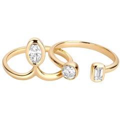 Hi June Parker 14 Karat Gold 1 Carat Diamond Stacking Engagement Ring Set