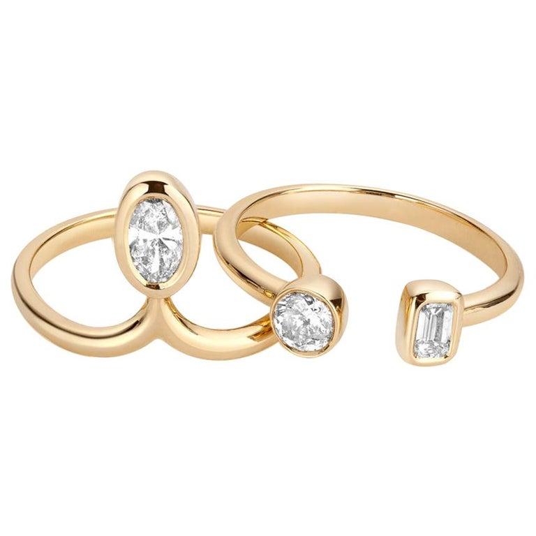 1 Carat Diamond Stacking Engagement Ring Set 14 Karat Yellow Gold For Sale