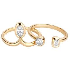 1 Carat Diamond Stacking Engagement Ring Set 14 Karat Yellow Gold
