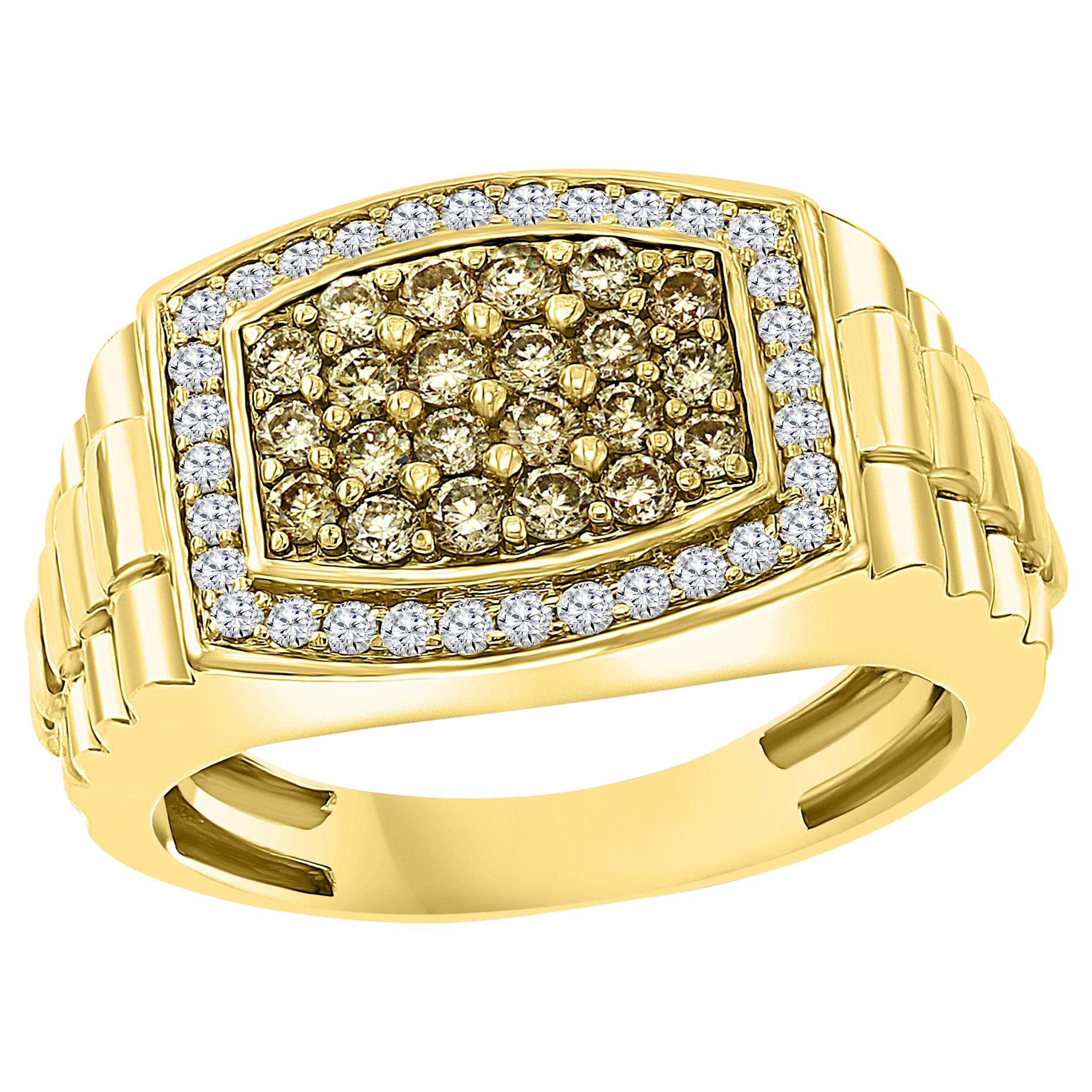 1 Carat Diamond Traditional Men's Ring 14 Karat Yellow Gold Ring Estate