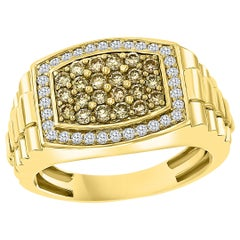 1 Carat Diamond Traditional Men's Ring 14 Karat Yellow Gold Ring Estate