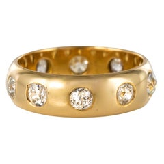 1 Carat Diamond Yellow Gold Domed Band Ring