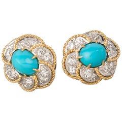 1 Carat Diamonds and Turquoises Earrings