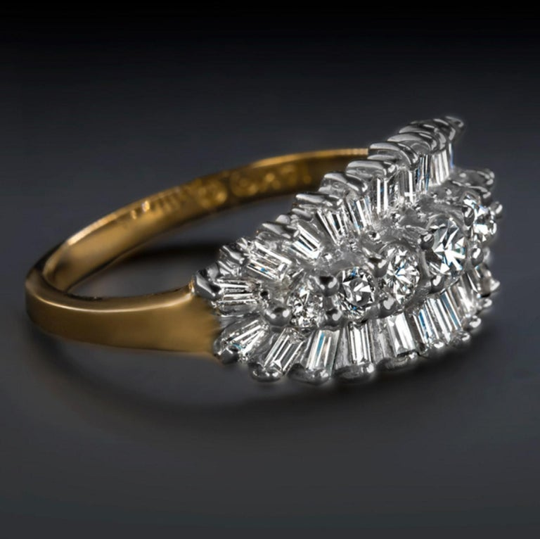 This stunning cocktail ring is encrusted with 1.00 carat of shimmering natural diamonds! Colorless, eye clean, and vibrant, the diamonds cover the face of the ring in striking continuous sparkle. The effect is an air of luxury and eye-catching