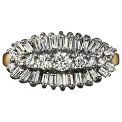 1 Carat E/F Round Baguette Diamond Band Ring