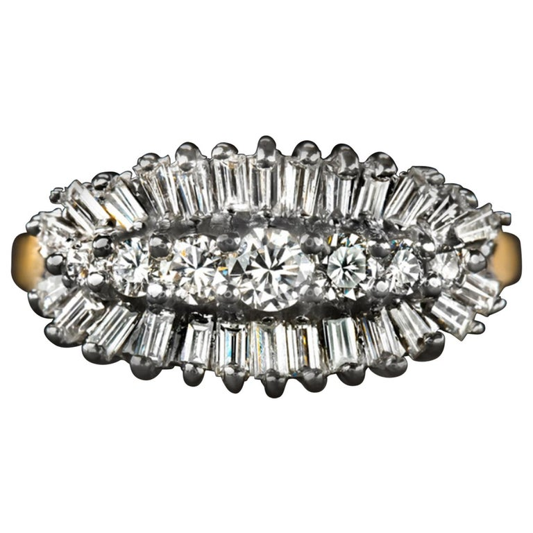 1 Carat E/F Round Baguette Diamond Band Ring For Sale