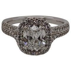 1 Carat E VVS2 Cushion Cut Split Shank Diamond Ring in 18 Karat White Gold