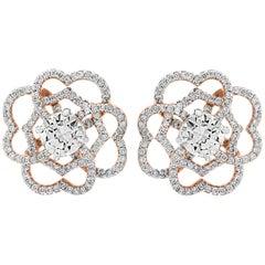 1 Carat Each Solitaire Centre Diamond Flower/Cluster Earring 14 Karat Rose Gold