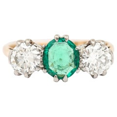 1 Carat Emerald and Diamond 1.75ct Three-Stone Ring 18k Yellow Gold and Platinum