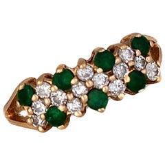 1 Carat Emerald and Diamond Ring Set in 14 Carat Gold