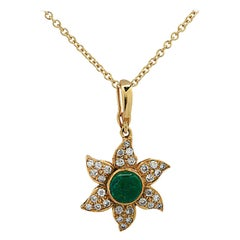 1 Carat Emerald and Diamond Star Necklace