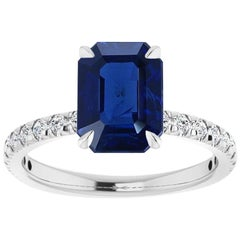 1.40 Carat Emerald-Cut No-Heat Burmese Sapphire and Diamond Engagement Ring
